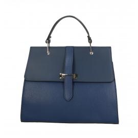Kožená modrá luxusná kabelka do ruky adelina