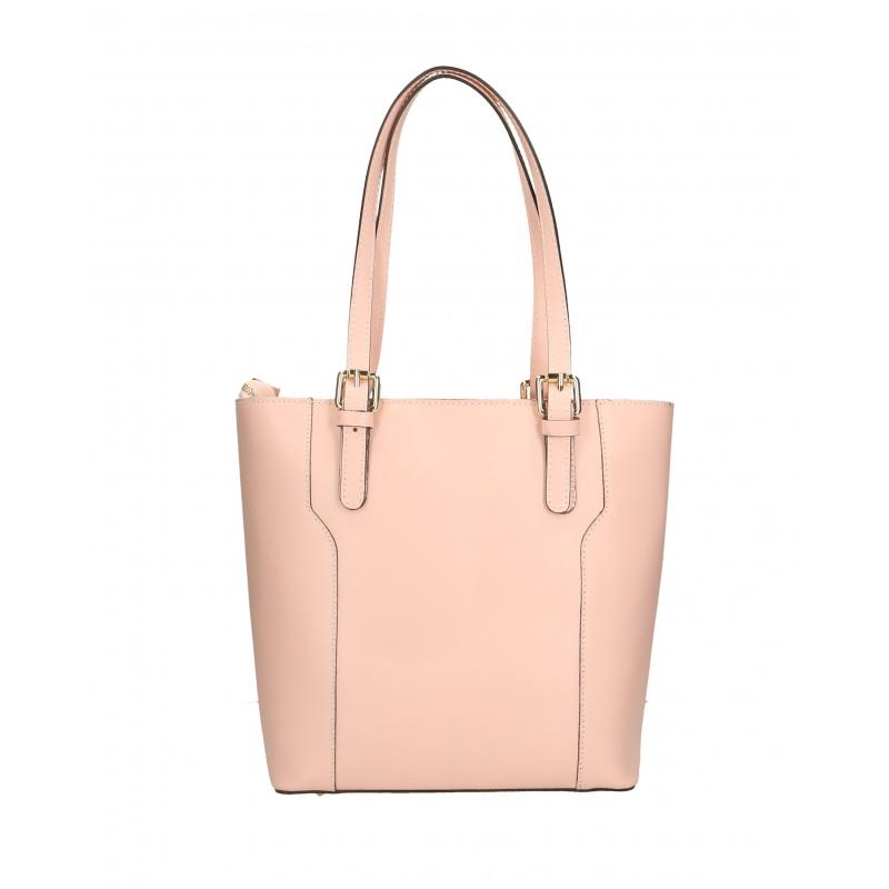13dede9042 Kožená moderní vysoká světle růžová kabelka na rameno carine ...
