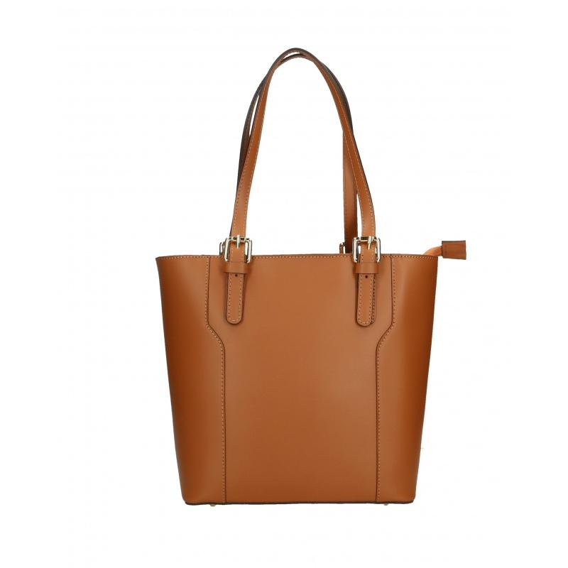 364693bb6b Kožená moderní vysoká hnědá brown kabelka na rameno carine ...