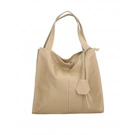 Kožená luxusní béžová taupe kabelka přes rameno darci