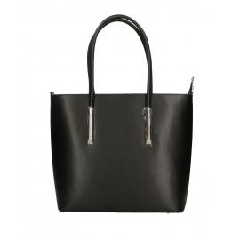 Kožená čierna veľká kabelka do ruky cherril