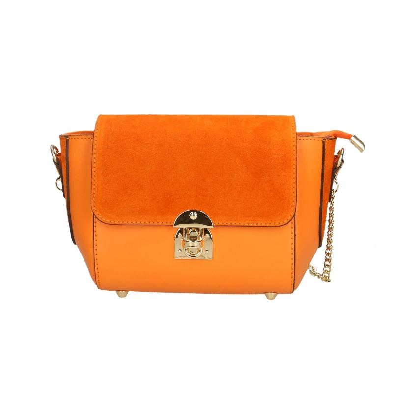 f65358adcc Kožená menšia oranžová crossbody kabelka cez rameno leone ...