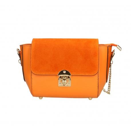 Kožená větší oranžová crossbody kabelka cez rameno leone