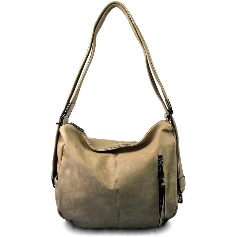 Praktická taupe béžová kabelka a batoh v jednom Marry two ... 287167793d5