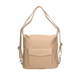Praktická kožená větší svěle růžová kabelka a batoh v jednom karin