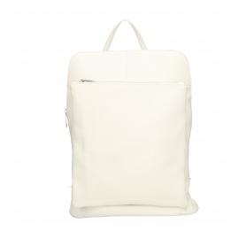 Praktický sněhově bílý kožený větší batůžek aveline