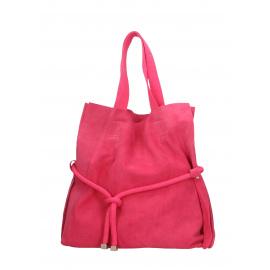 Kožená tmavo růžová shopper taška cez rameno claudia