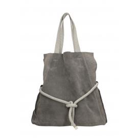 Veľká praktická svetlo sivá kožená shopper kabelka cez rameno