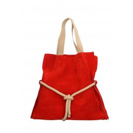 881b8e5e6 Kožená červená velká shopper taška na rameno claudia