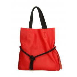 2cb5a2436 Kožená červená velká shopper taška na rameno claudia two