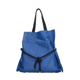 Kožená sytě modrá shopper taška cez rameno claudia two