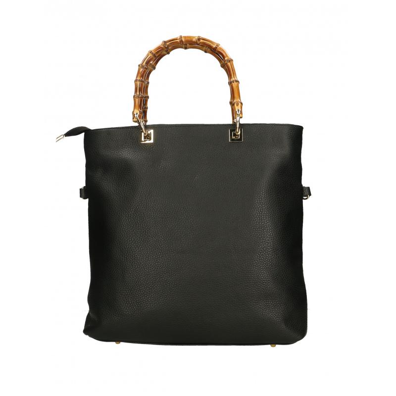 520fc12e4d Kožená luxusní černá shopper kabelka kabelka do ruky laura ...