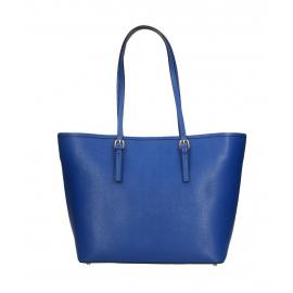 Kožená luxusná veľká syto modrá kabelka cez rameno alisane
