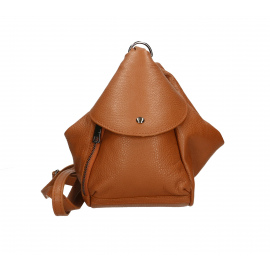 Praktický luxusný hnedý camel kožený menšie batůžek alexis