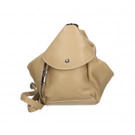 Praktický luxusný béžový taupe kožený menšie batůžek alexis