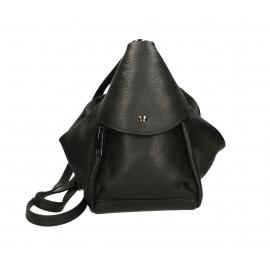 Praktický luxusný čierny kožený menšie batůžek alexis