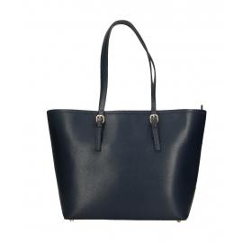 Kožená luxusná velká tmavo modrá kabelka cez rameno alisane