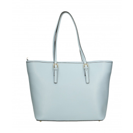 Kožená luxusná veľká svetlo modrá kabelka cez rameno alisane