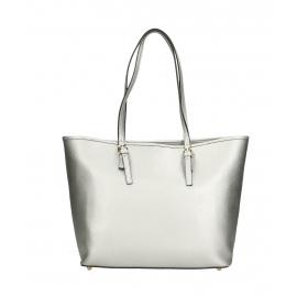Kožená luxusná veľká strieborna kabelka cez rameno Alisane