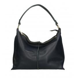 Kožená tmavo modrá velká taška na rameno clarita