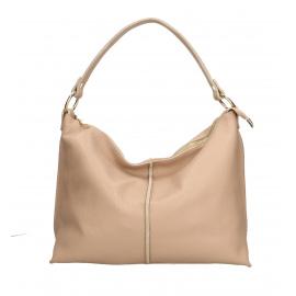 Kožená růžová velká taška na rameno clarita
