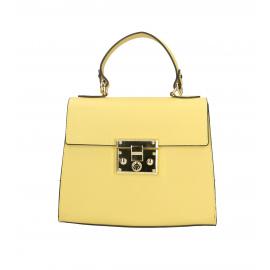 Kožená malá žltá kabelka do ruky samantha