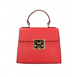 Kožená malá syto červená kabelka do ruky samantha