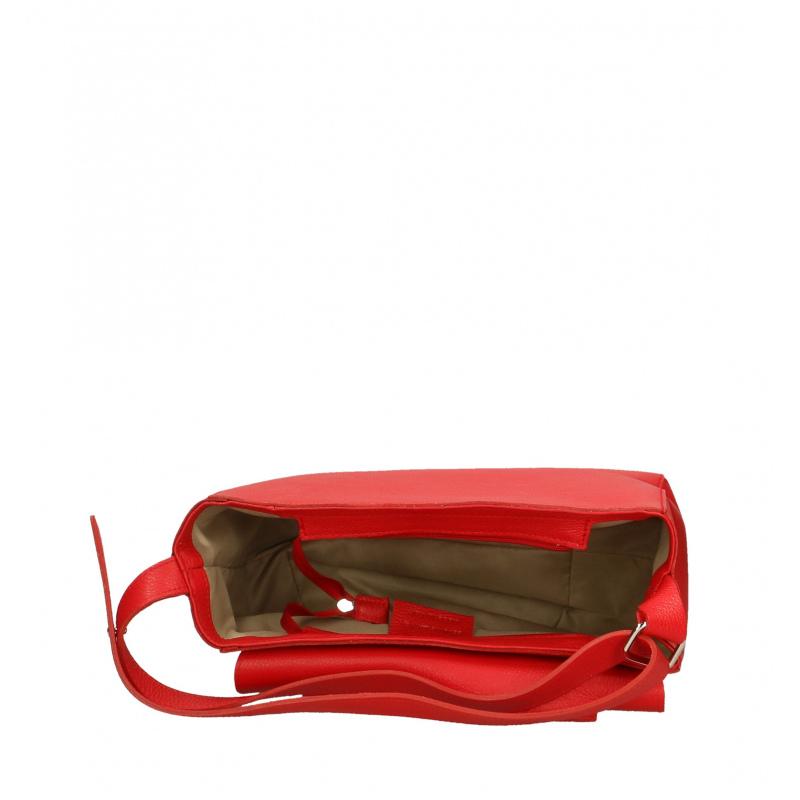 864f101db Kožená syto červená kabelka dixi - KabelkyZoSvěta