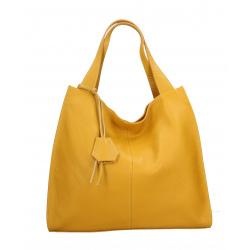 Kožená hořčicově žlutá veľká kabelka cez rameno Darci