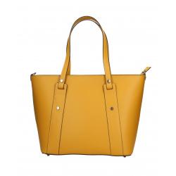 Kožená horčicovo žltá kabelka cez rameno Emi