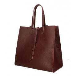 Kožená bordó shopper kabelka cez rameno Tamara