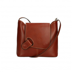 Kožená hnedá brown crossbody kabelka cez rameno Gizel