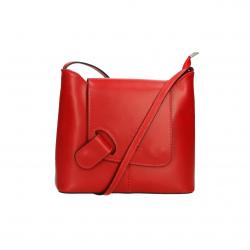 Menšia štýlová tmavo červená kožená crossbody kabelka Gizel