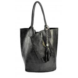 Kožená čierná lesklá shopper taška na rameno melani summer