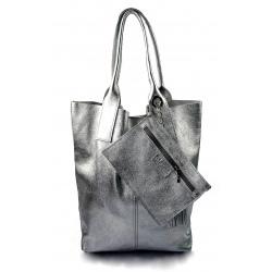 Kožená strieborná lesklá shopper taška na rameno melani summer