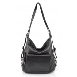 Praktická kožená čierná kabelka a batoh v jednom karin