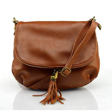 Kožená hnedá camel crossbody kabelka cez rameno tori