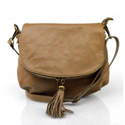 Kožená béžová taupe crossbody kabelka cez rameno tori