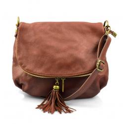 Kožená hnedá brown crossbody kabelka cez rameno tori