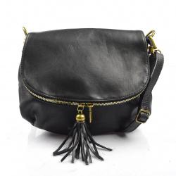 Kožená čierna crossbody kabelka cez rameno Tori