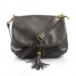 Kožená tmavo hnedá crossbody kabelka cez rameno tori