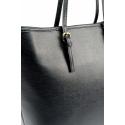 Kožená luxusná veľká čierná kabelka cez rameno Alisane