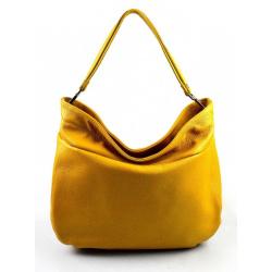 Kožená žltá kabelka cez rameno devona