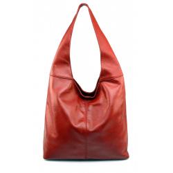 Kožená červená bordó taška cez rameno feris