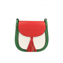 Kožená farebná so zelenou crossbody kabelka cez rameno Bella Summer