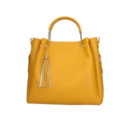 Kožená žltá kabelka do ruky Italien