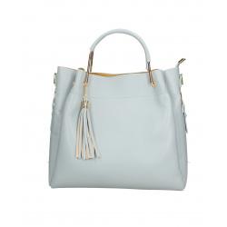 Kožená svetlo modrá kabelka do ruky Italien