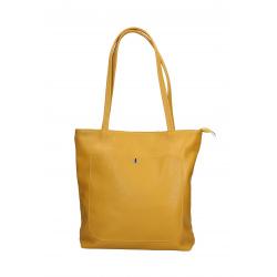 Kožená žltá shopper taška cez rameno Stela