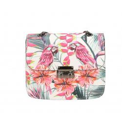 Kožená menšia biela s růžovou crossbody kabelka Xeni Bird