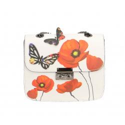 Kožená menšia biela s oranžovou crossbody kabelka Xeni Flower
